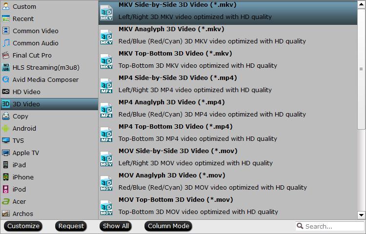Output 3D SBS format MKV